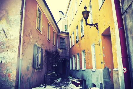 Grunge houses in Old Town in Tallinn, Estonia photo