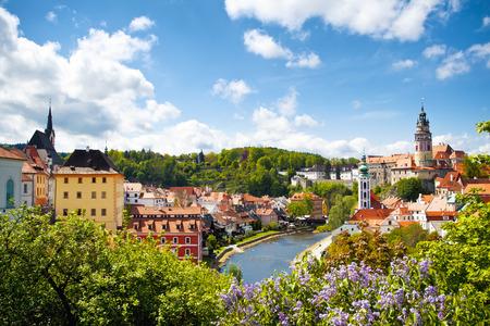 Mooi uitzicht op de toren van Cesky Krumlov, Tsjechië Stockfoto - 36594631