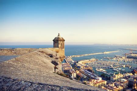 santa barbara: View from Santa Barbara castle to harbor Alicante, Spain