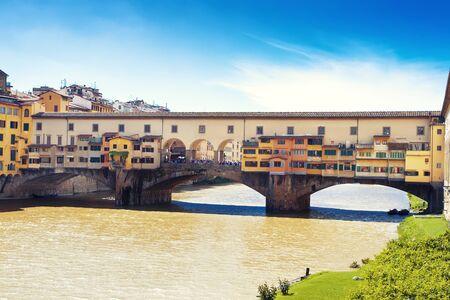 trinita: View to bridge ponte Vecchio, Florence, Italy
