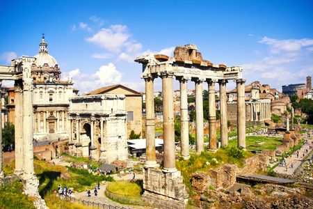 Ancient ruins in Roman Forum, Rome, Italy