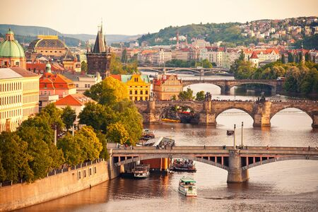 Beautiful view to Vltava and bridges in Prague, Czech republic photo