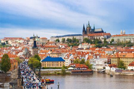 vitus: Saint Vitus cathedral and Charles bridge in Prague, Czech republic