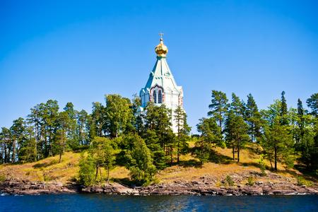 monastery nature: View to Saint Nicholas Skete in Valaam, Russia