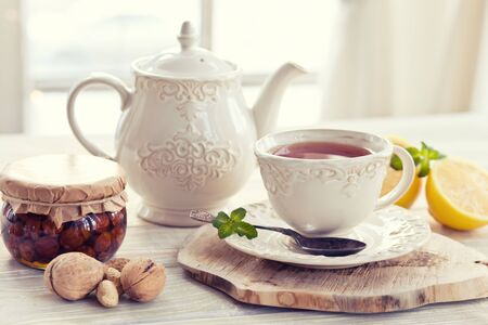 teacup: Teapot and teacup in vintage style Stock Photo
