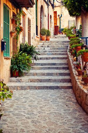 Street in Valldemossa village in Mallorca, Spain Stock Photo