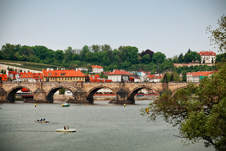 vltava: Charles bridge in Vltava river,  Prague