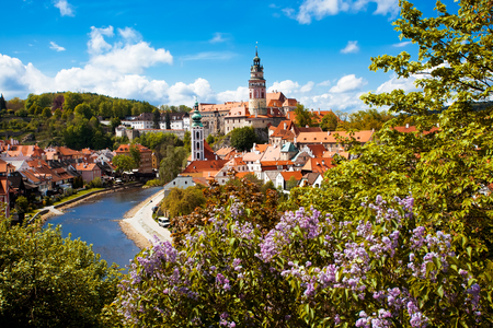 bohemia: Beautiful view to tower and castle of Cesky Krumlov, Czech republic Editorial