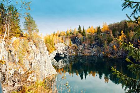 Marble canyon Ruskeala in autumn, Karelia, Russia