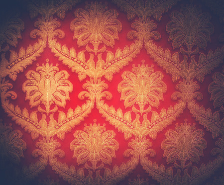 RED WALLPAPER: Beautiful golden vintage ornament background in victorian style