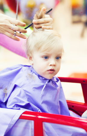 First Haircut Of Little Baby Boy Stock Photo Picture And Royalty