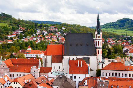 View to Cesky Krumlov and Saint Vitus cathedral, Czech republic