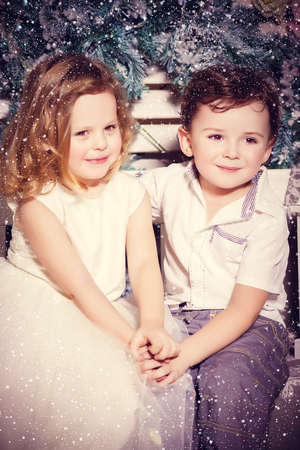 Little boy and girl in love photo