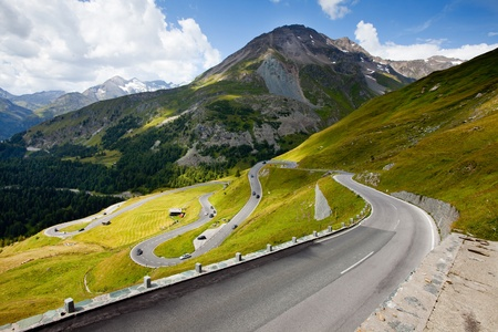 curve road: Twisty High Alpine Road - Grossglockner. Stock Photo