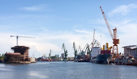 shiprepair: Shipyard of Gdansk, Poland. Stock Photo
