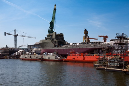 Ship building in Gdansk, Poland. photo