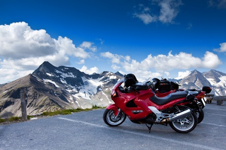 Motorbikes on mountain. Grossglockner High Alpen Road. photo