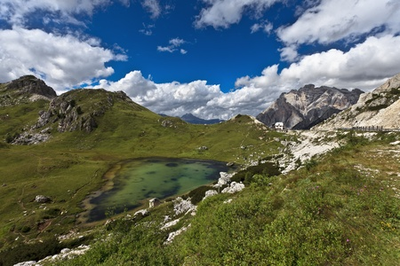 Dolomites - mountain lake, Italy, Europe. photo