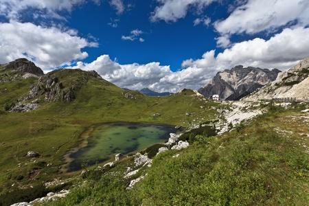 dolomite: Dolomites - mountain lake, Italy, Europe. Stock Photo