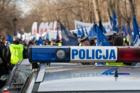 Police protest Warsaw, Poland 2009