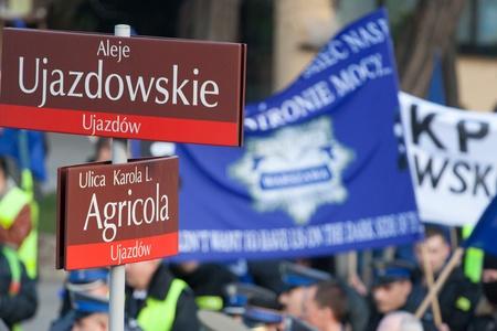 warszawa: Police protest Warsaw, Poland, December 2, 2009. Editorial