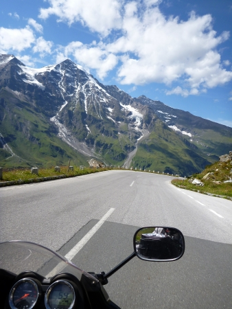 Alps from the perspective of a motorcyclist