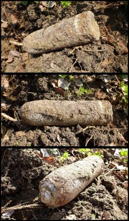artillery shell: Una bomba sin explotar de la Segunda Guerra Mundial Foto de archivo