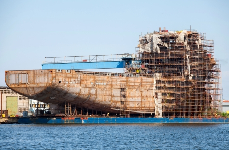 hull of the ship and scaffolding