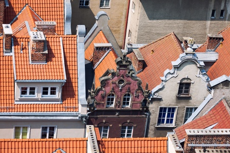 bird s eye view: Architecture of old town in Gdansk, Poland - Bird s eye view