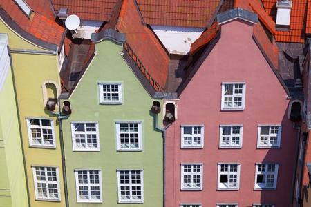 bird s eye view: Architecture of old town in Gdansk, Poland - Bird s eye view