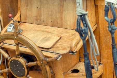 helm of sailing boat photo
