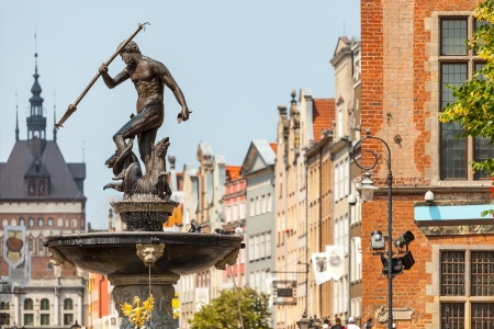 Famous Neptune fountain at Dlugi Targ square  Gdansk - Poland