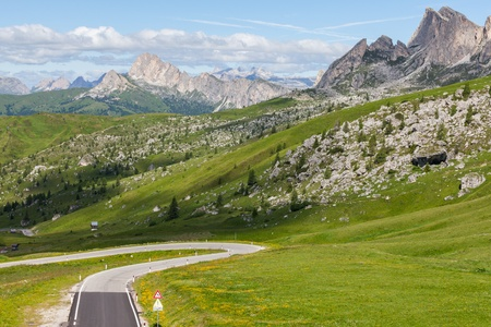 road at Giau Pass, Dolomites, Italy  photo