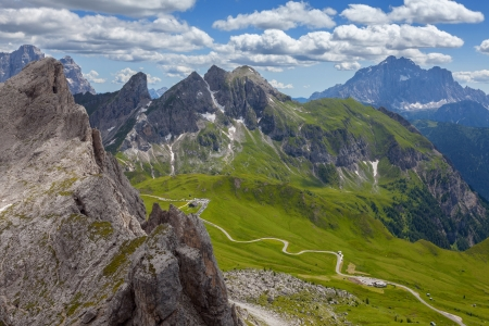 View of mountain road - Dolomites photo