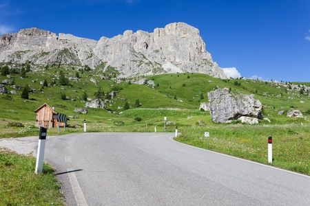 View of mountain road - Dolomites photo