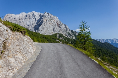 Unsecured mountain road - Slovenia photo