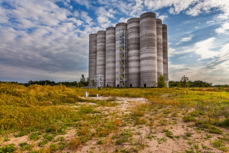 Unfinished, abandoned, concrete silos  photo