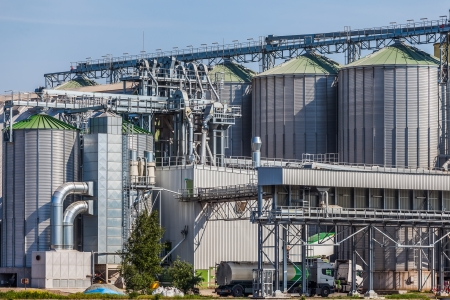 Silos for drying, cleaning and storage of grain  Standard-Bild