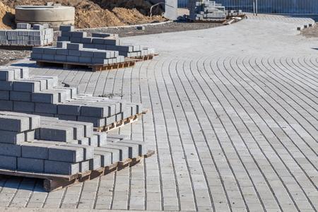 Pavement with cobblestones under construction