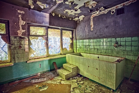 The interior of an abandoned sanatorium  HDR