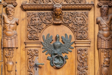 Antique doors to the building in the Old Town - Gdansk, Poland. photo