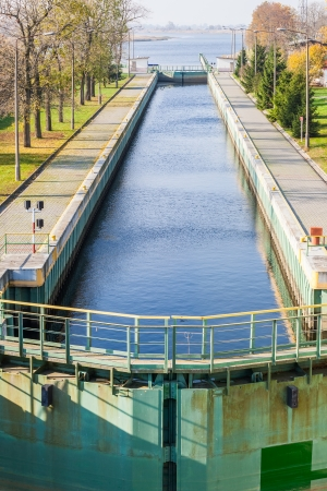 crosscut: Sluice chamber allows inland waterway between the Dead Vistula River and crosscut river  Stock Photo