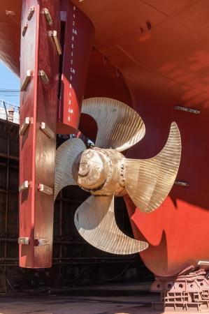 Propeller and rudder ship in dry dock