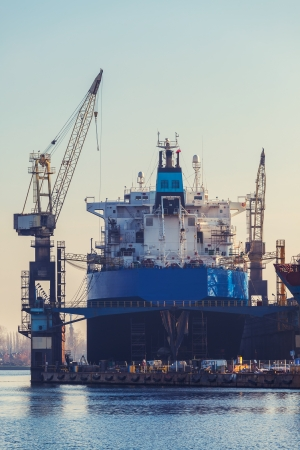 Morning in the yard - the ship in dry dock  Stock Photo - 23561597