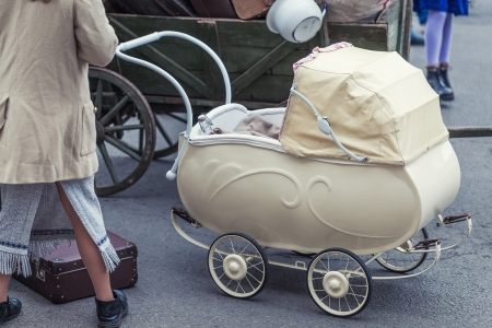 Belongings and stroller with a child refugees during World War 2