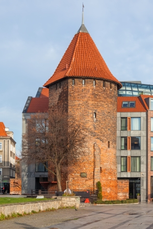 granary: The historic tower in Gdansk -  Swan Tower  Stock Photo