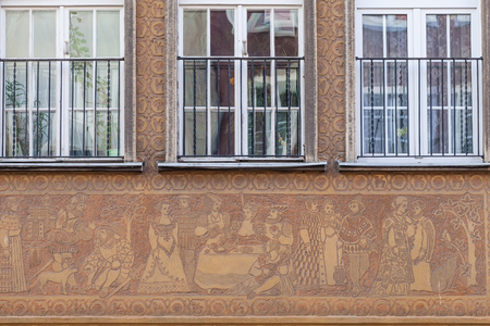 tenement: The decorations on the tenement houses - Gdansk, Poland  Stock Photo