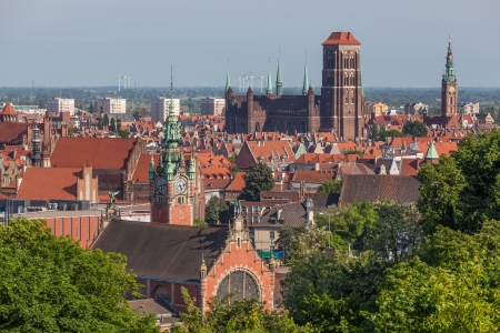 Aerial view of the historic old town in Gdansk  photo