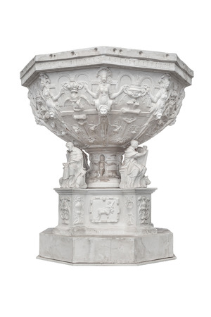 baptismal: Medieval, carved baptismal font at St. Marys Church - Gdansk, Poland. Isolated on white. Stock Photo