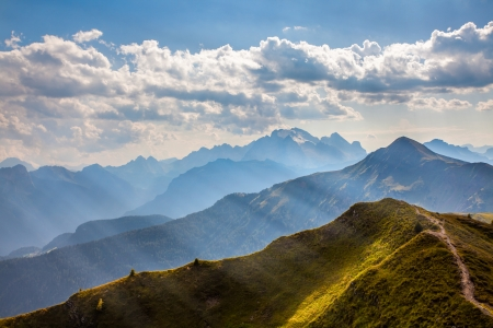Mountain paths and majestic views of the Dolomites - Italy photo